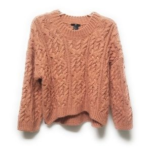 H&M Salmon Chunky Cable Knit Sweater Size Small S